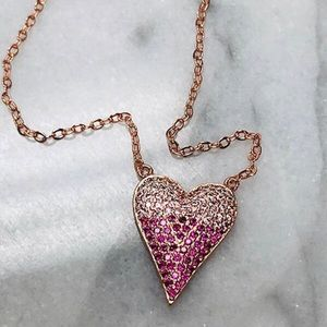 Rose Gold Ombré Pink Crystal Heart, NWT
